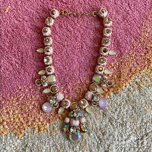 Pastel pink jeweled statement necklace